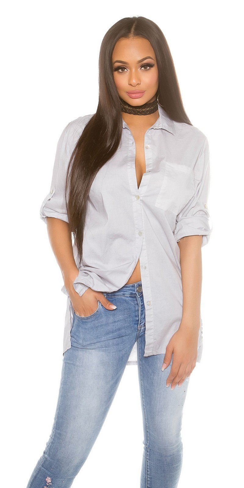 Trendy high-low blouse with roll-up sleeves Grey