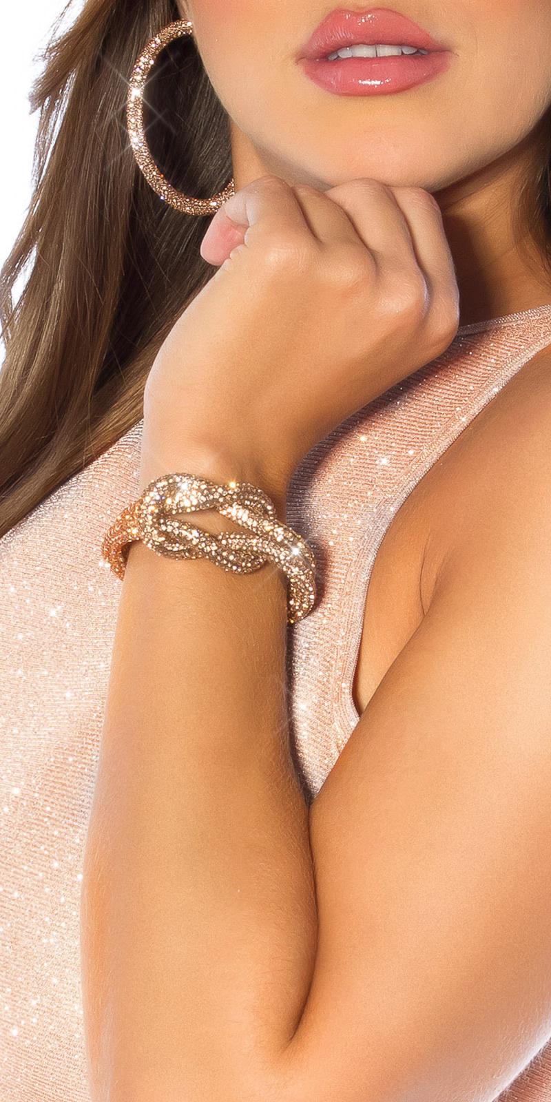 Sexy knoop armband met magnetische sluiting brons