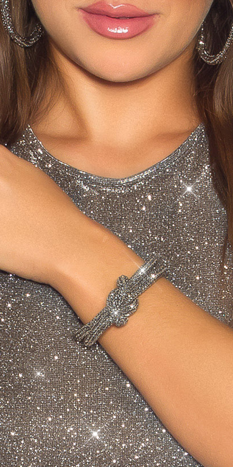 Sexy knoop armband met magnetische sluiting grijs