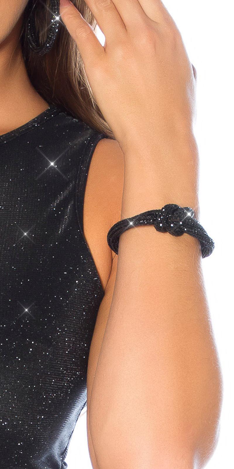 Sexy knoop armband met magnetische sluiting zwart