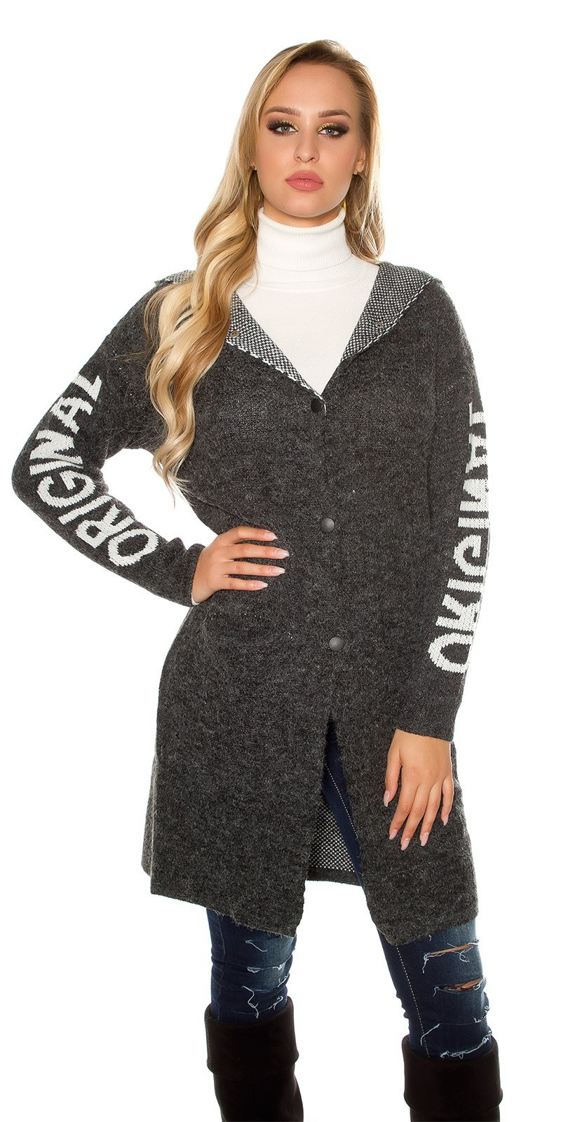 Trendy Hooded cardigan ORIGINAL w. lacing Black