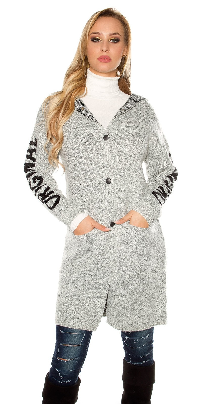 Trendy Hooded cardigan ORIGINAL w. lacing Lightgrey