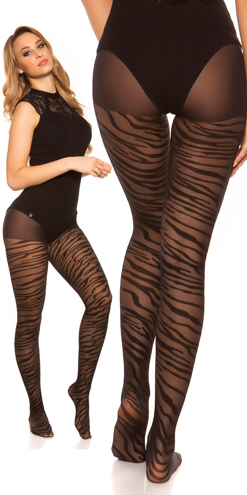 Sexy tights in zebra look Black