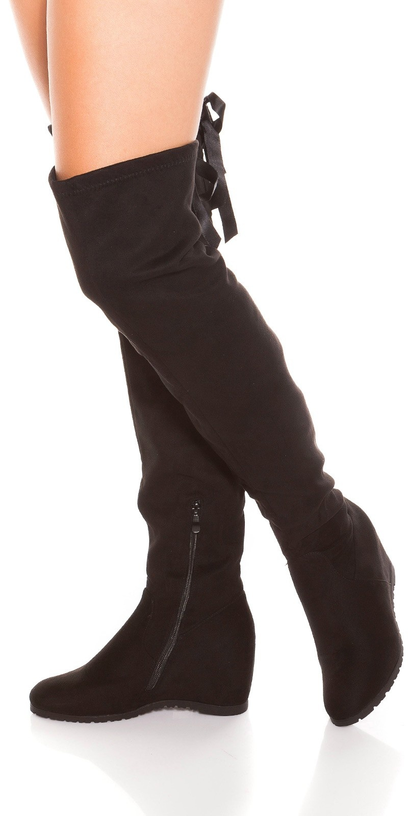 Trendy Overknees wedge boots with bow Black