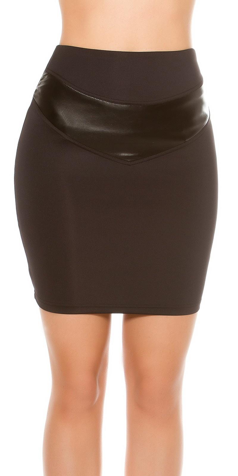 Sexy Waist Mini Skirt Leatherlook Black