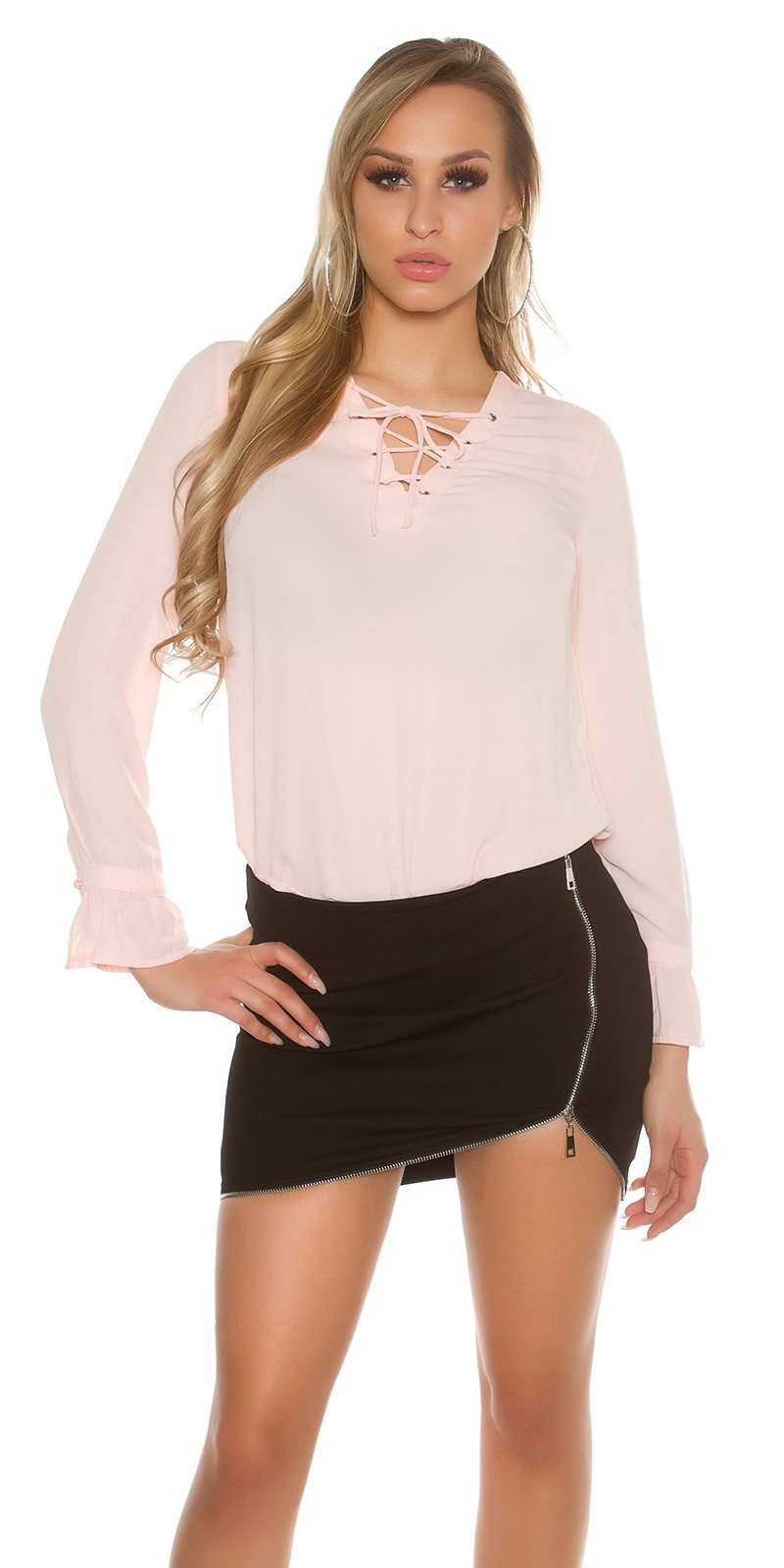 Sexy blouse with laced neckline Salmon