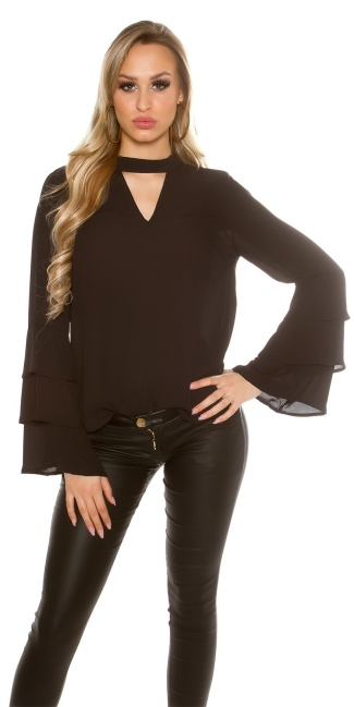 Elegant blouse with flounced sleeves Black