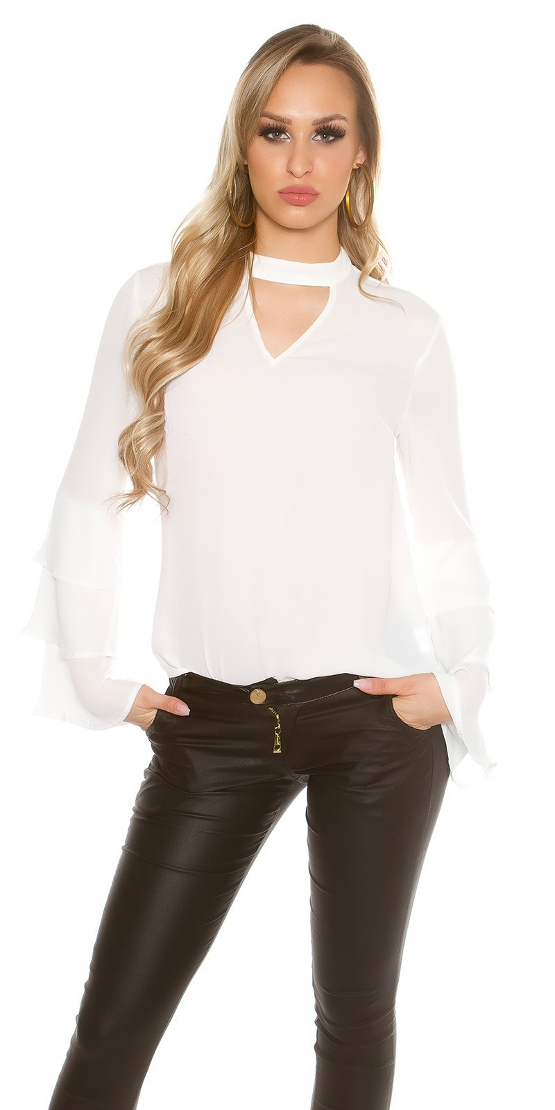 Elegant blouse with flounced sleeves White