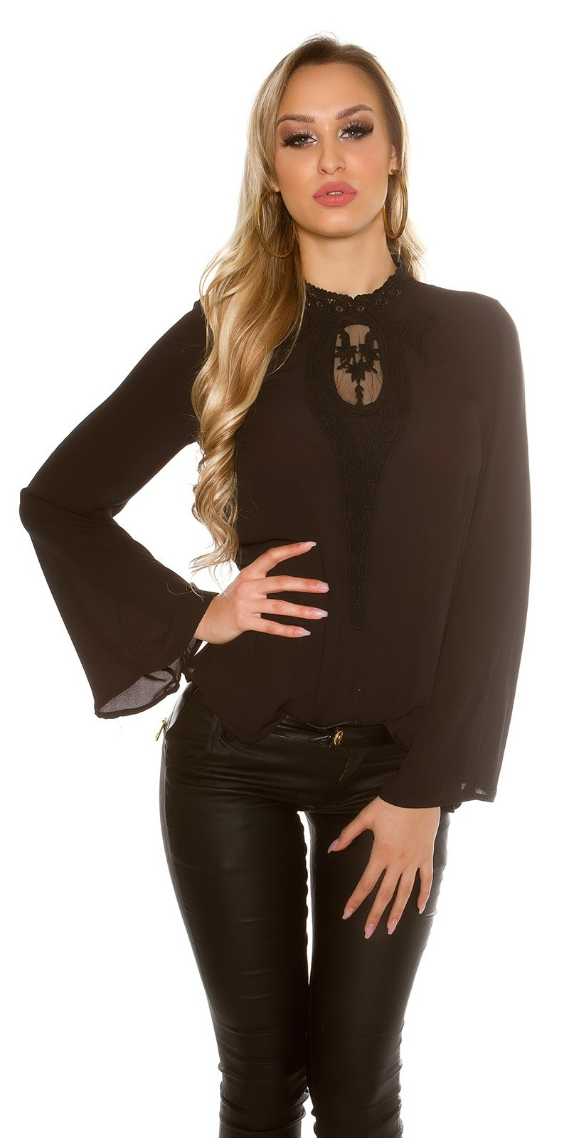 elegant blouse with embroidery Black