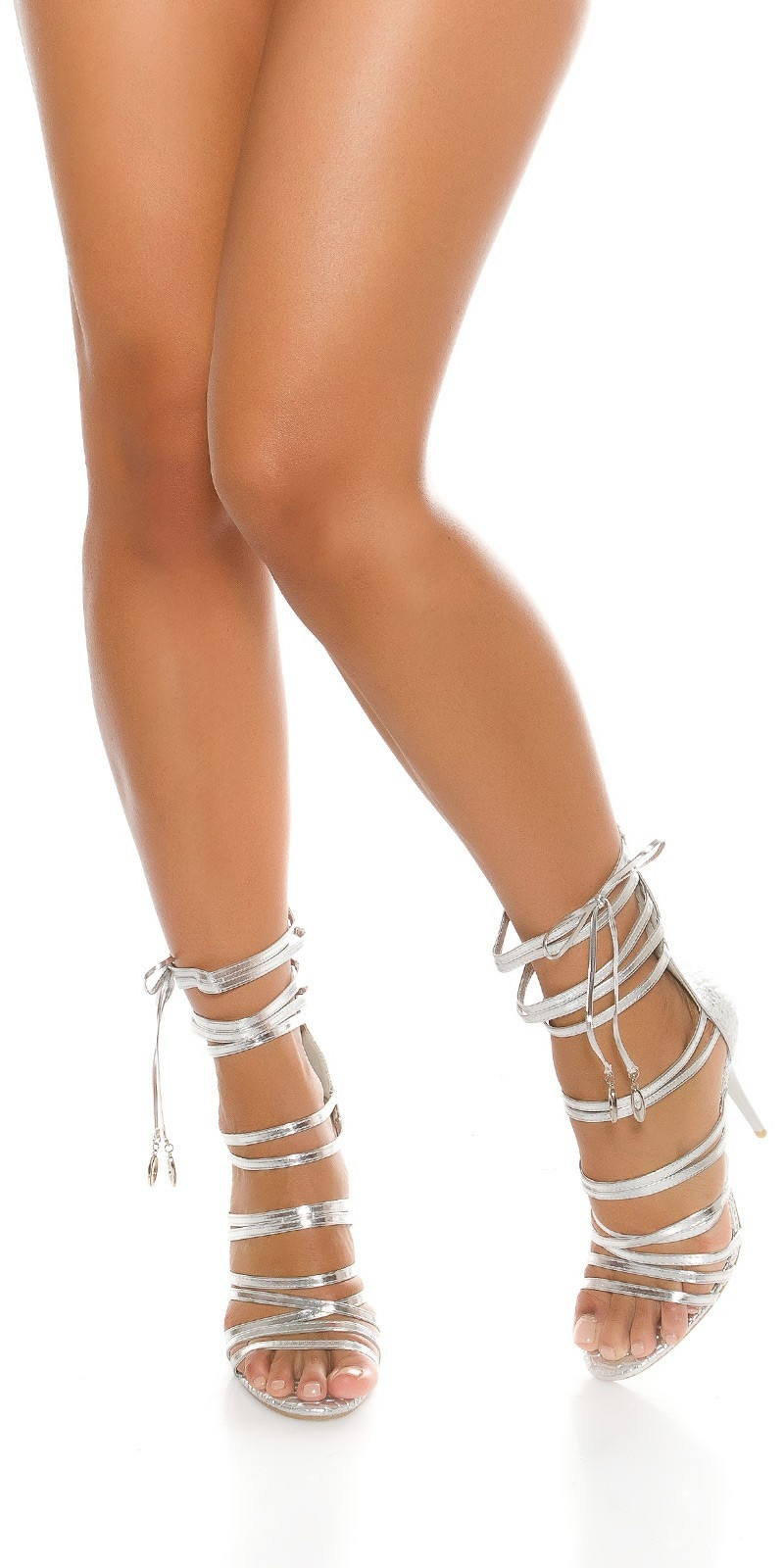 Sexy High Heels Bondage Look Croco Design Silver