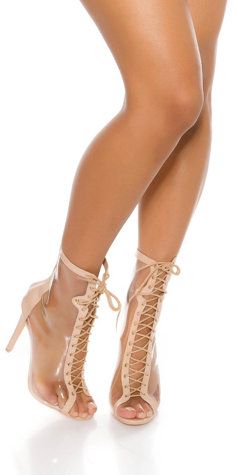 Sexy Peeptoe Ankle Boot Beige