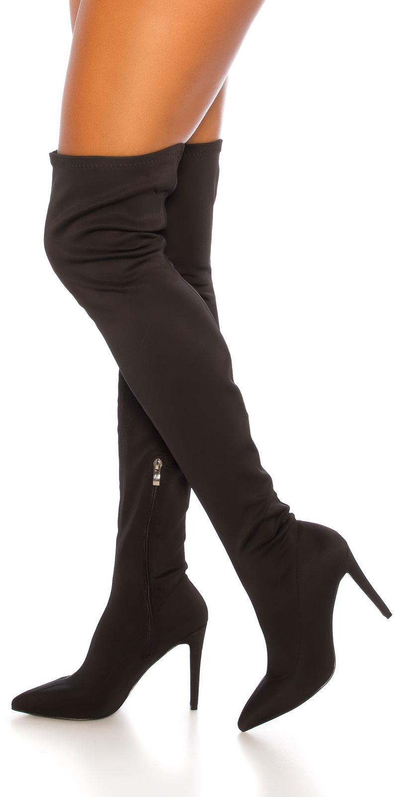 Sexy skinny overknee laarzen zwart