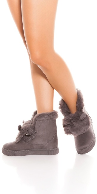 Trendy winter boots lined with ears Grey