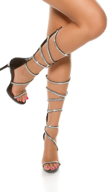 Sexy High Heel in Roman sandal look Black