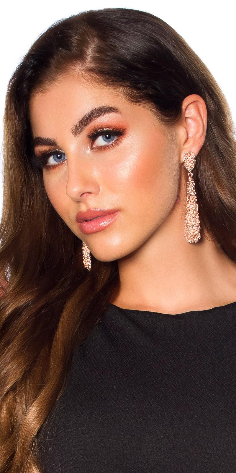 Sexy oorbellen hangend brons