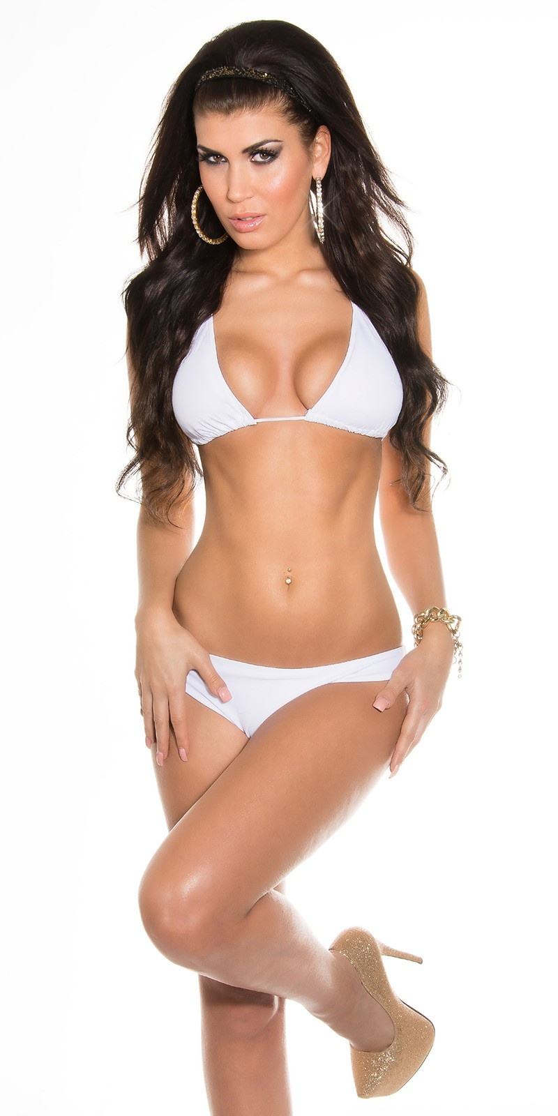 Sexy Triangle Bikini to tie White