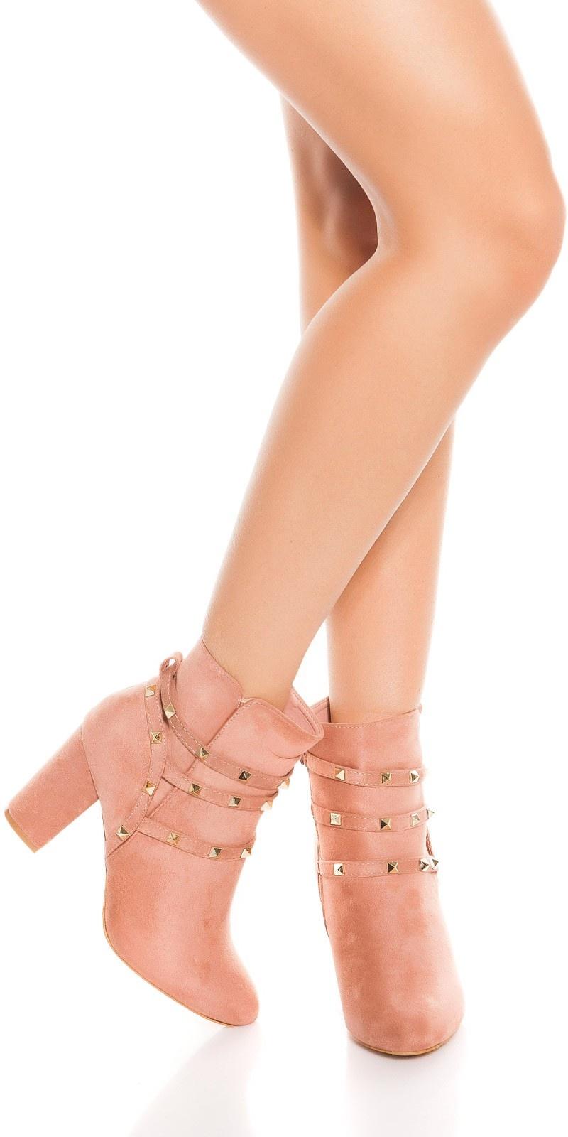 Trendy enkel laarzen met blokhak en klinknagels abrikoos-kleurig