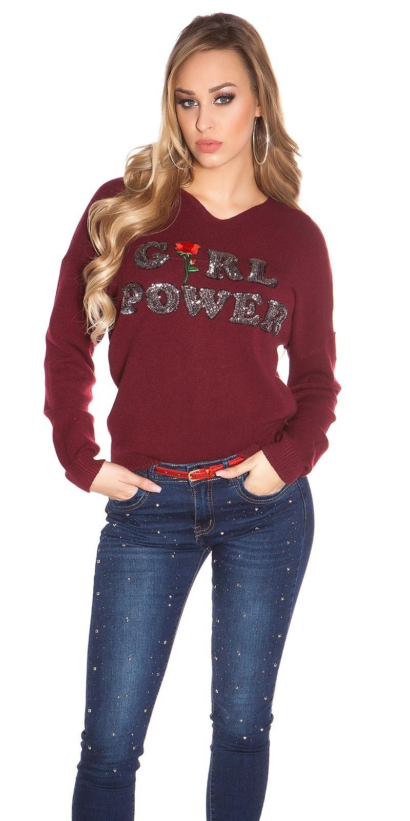 Trendy pullover girl power bordeaux