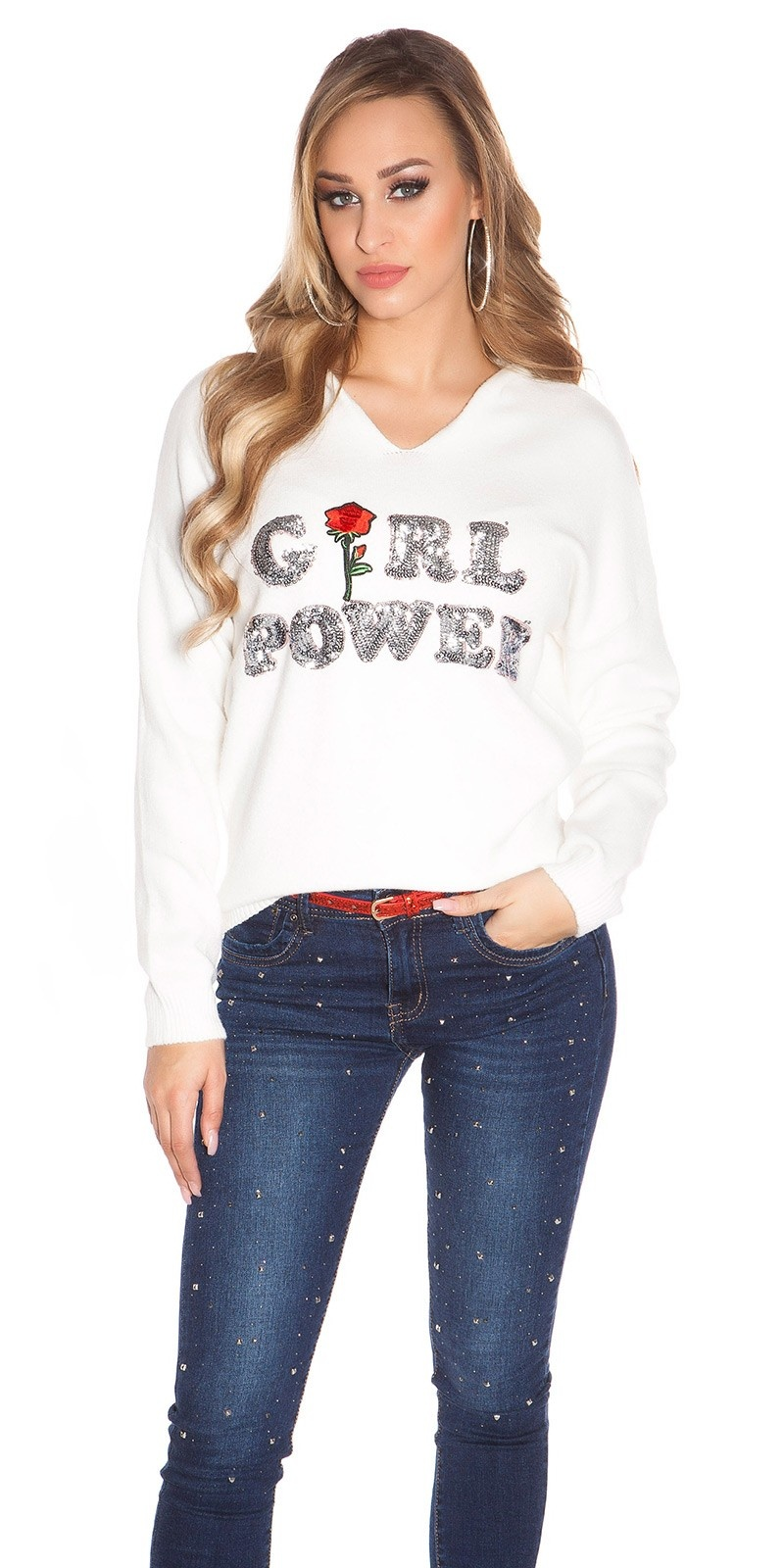 Trendy pullover girl power wit
