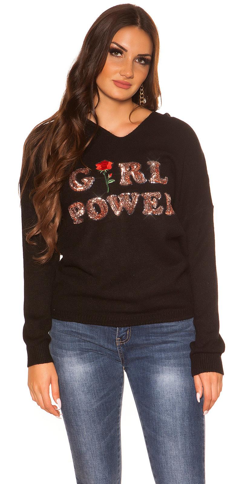Trendy pullover 'girl power' zwart
