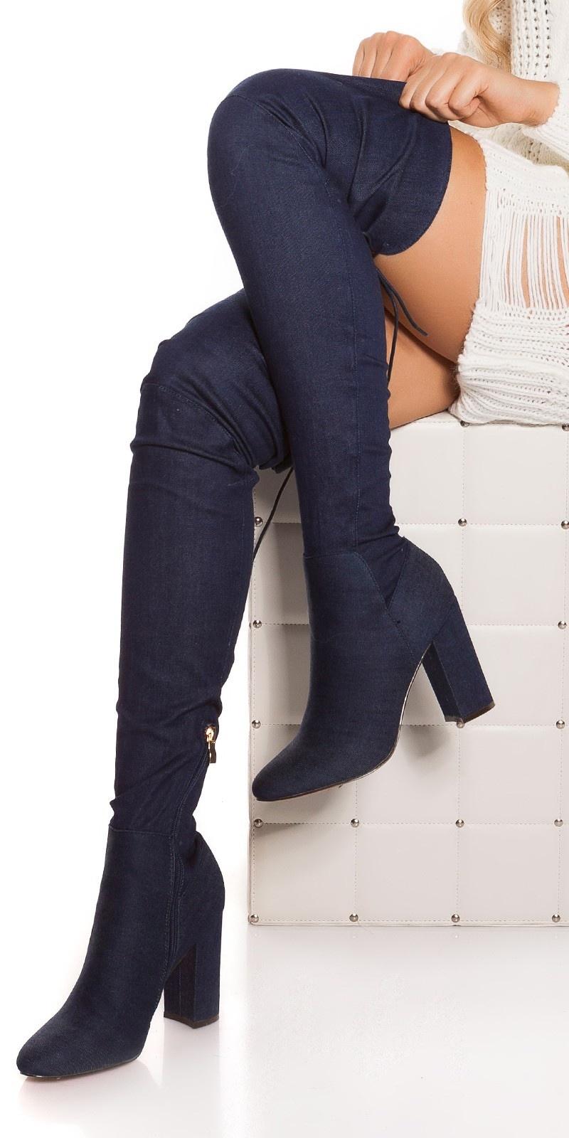 Sexy blokhak denim-spijkerstof overknee laarzen jeansblauw