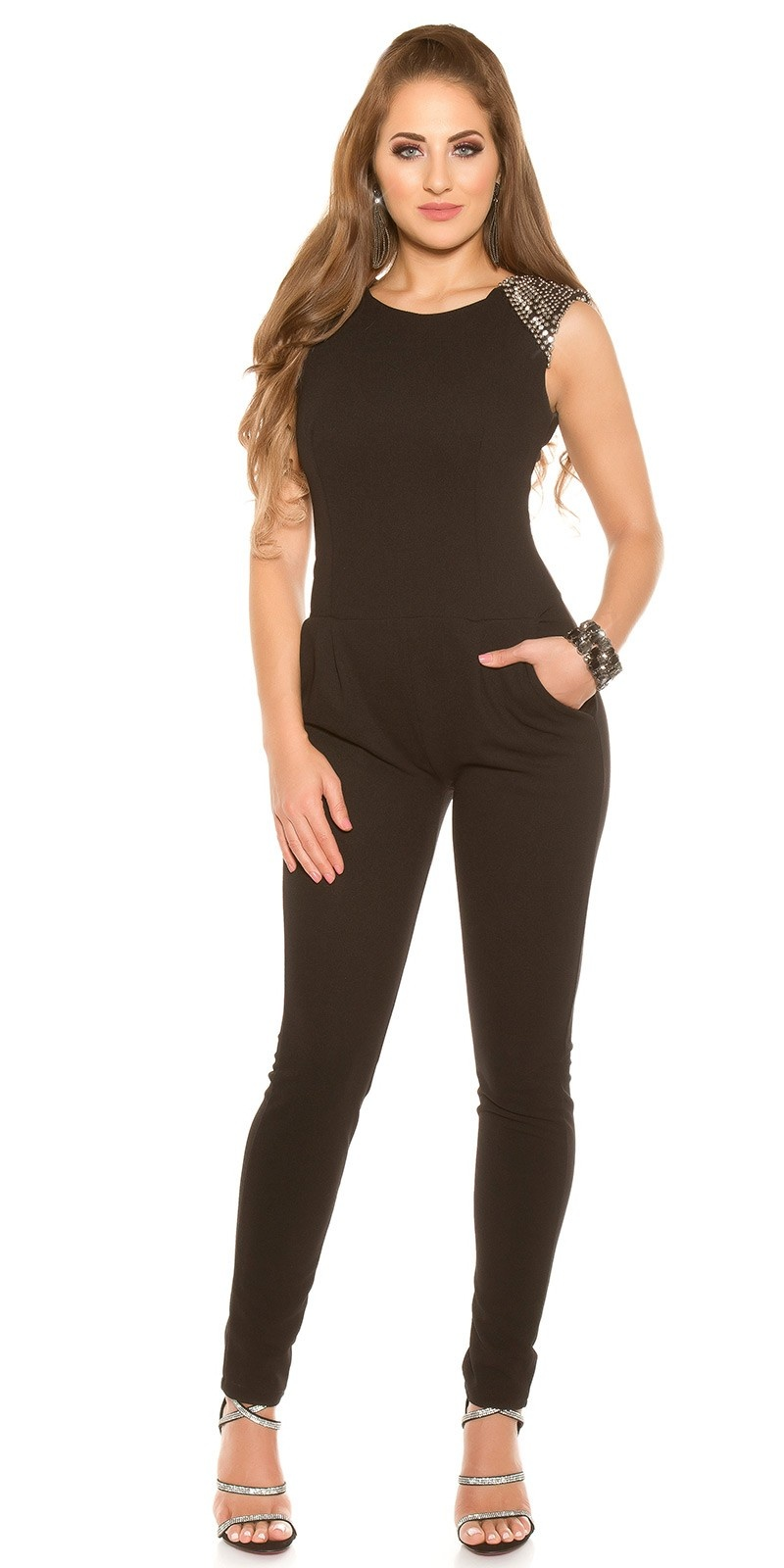 Sexy Jumpsuit with Studs & Rhinestones Black