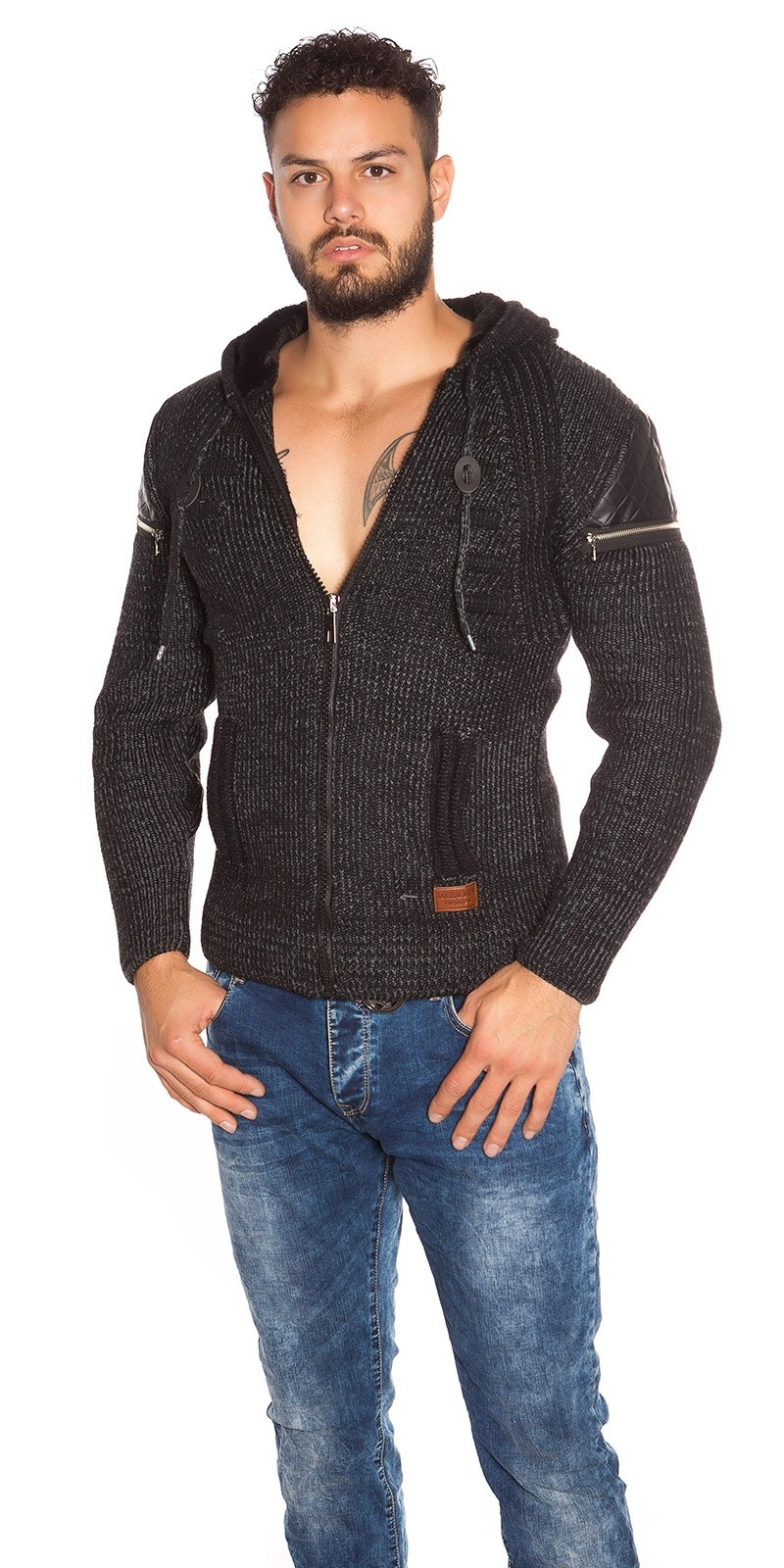 Trendy Men s Knit Hoodie with Zip Black