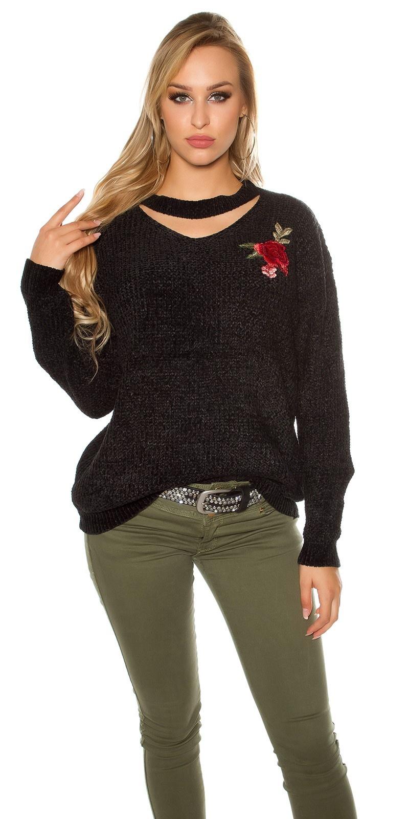 Trendy gebreide sweater-trui met bloemen-print borduurwerk zwart