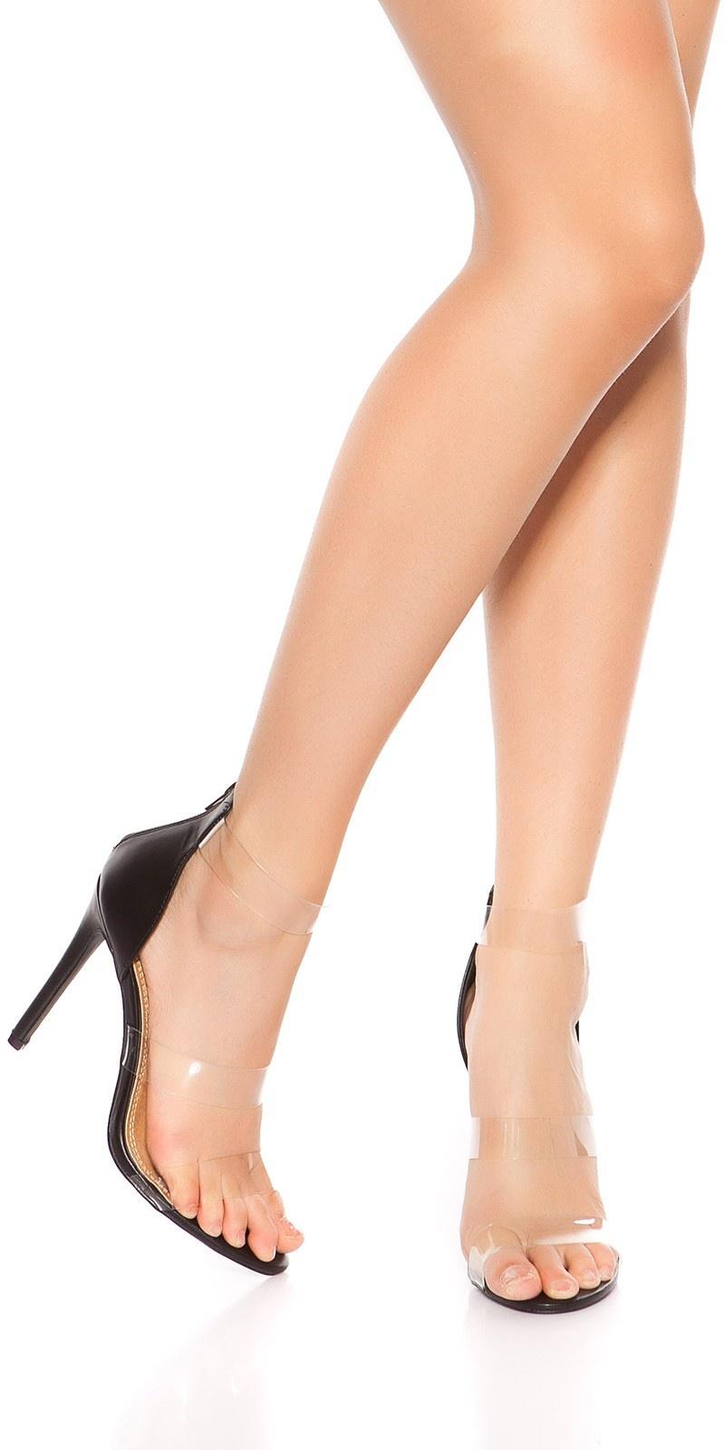 Sexy sandalen-sandaletten met hoge hakken en doorzichtige bandjes zwart