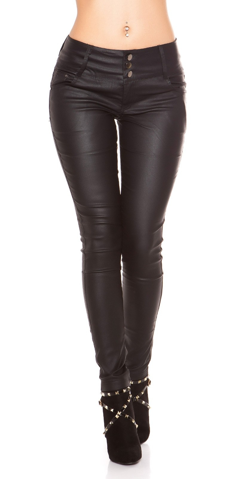Sexy 5 pockets Leather Look Trousers Black
