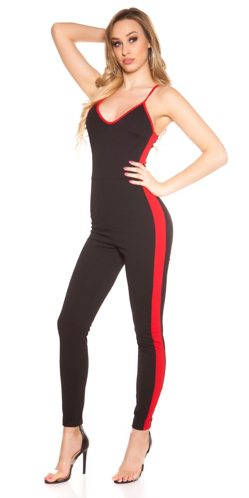 Sexy jumpsuit met contrast strepen zwartrood