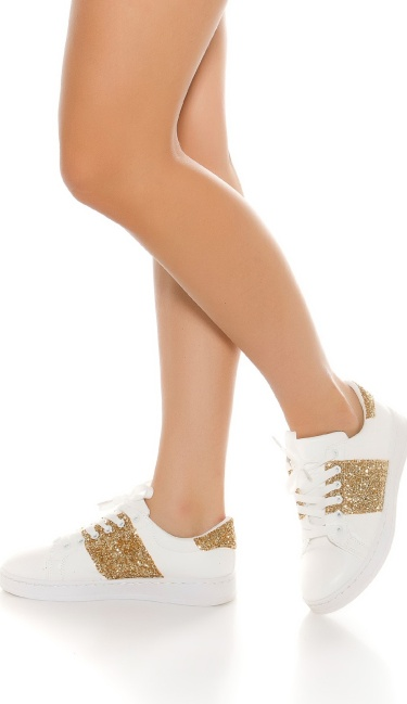 Trendy Sneakers with glitter Gold
