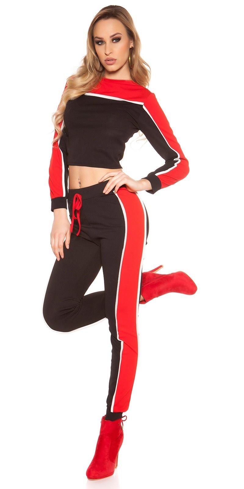 Trendy set sweater-trui + sweatjoggingbroek roodzwart