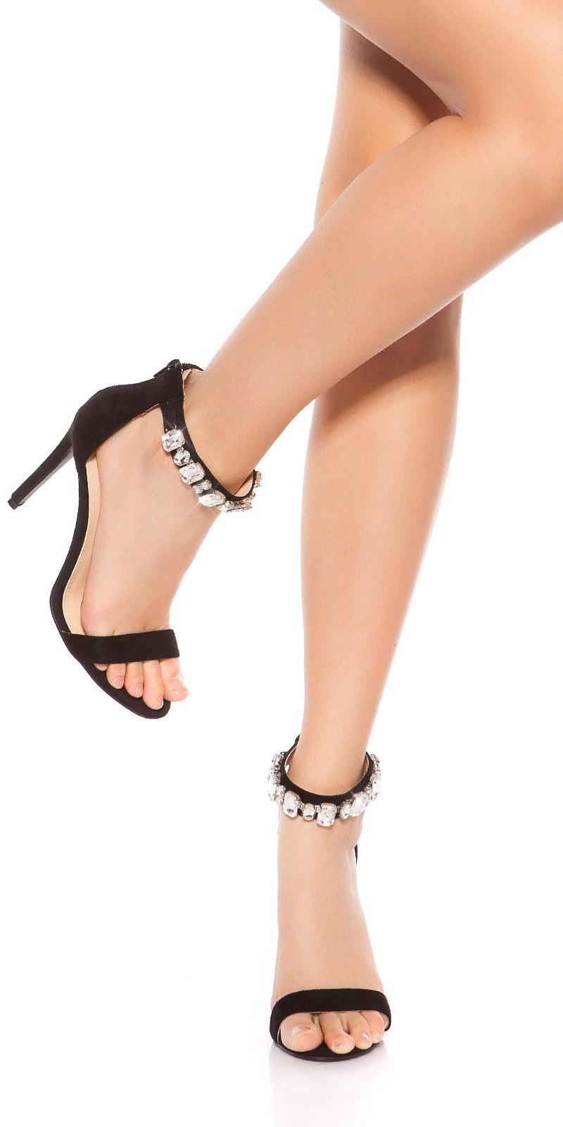Sexy sandalen-sandaletten met hoge hakken en strass steentjes zwart