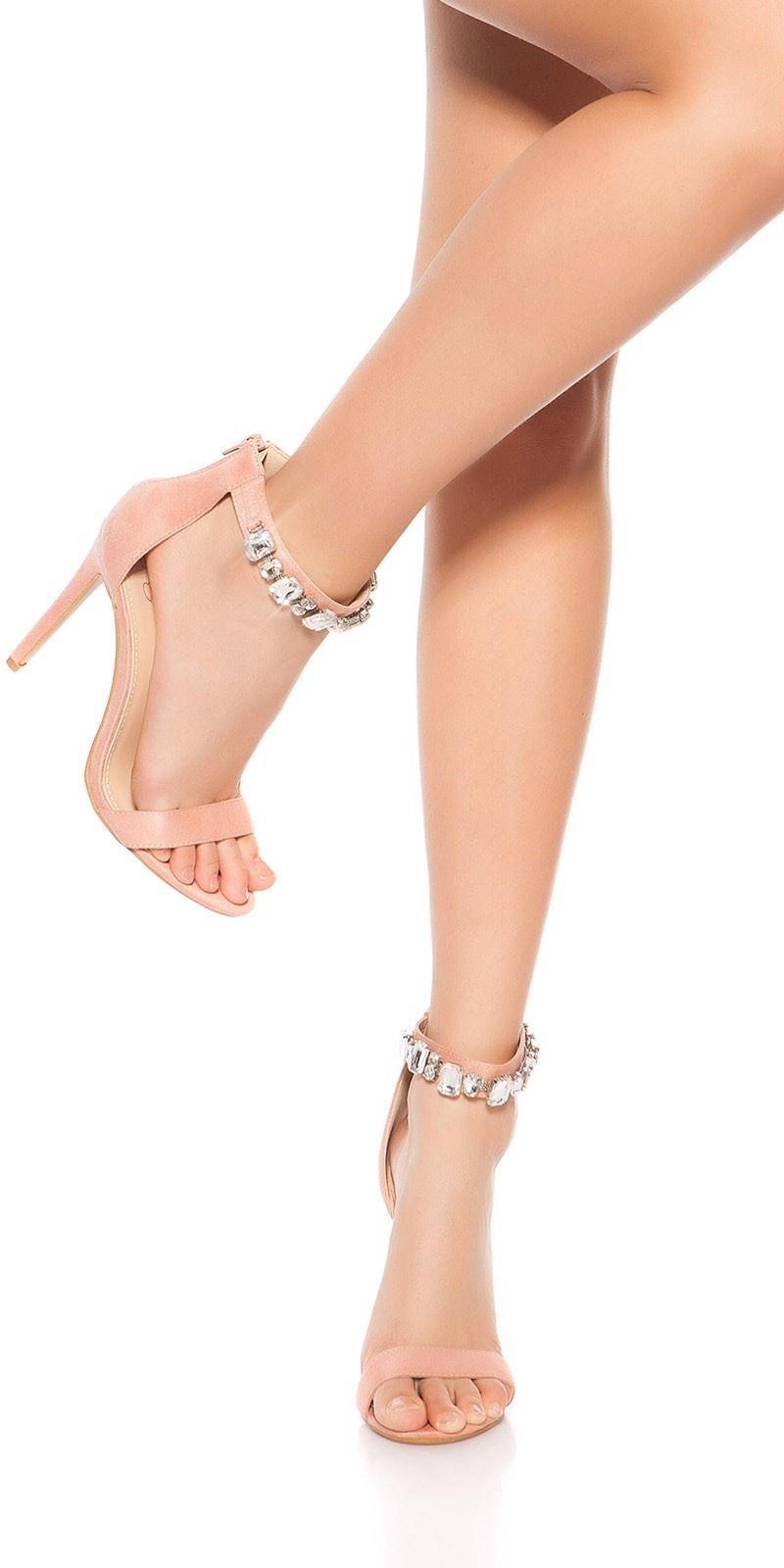 Sexy sandalen-sandaletten met hoge hakken en strass steentjes roze