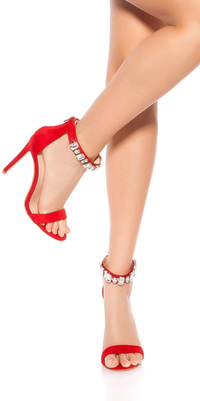 Sexy sandalen-sandaletten met hoge hakken en strass steentjes rood