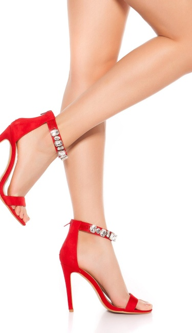 Sexy high heel sling sandal with rhinestones Red