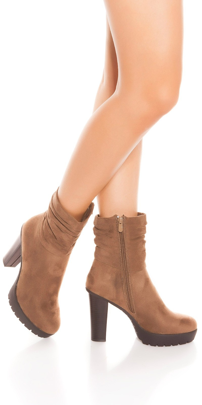 Trendy block heel ankle boots Cappuccino