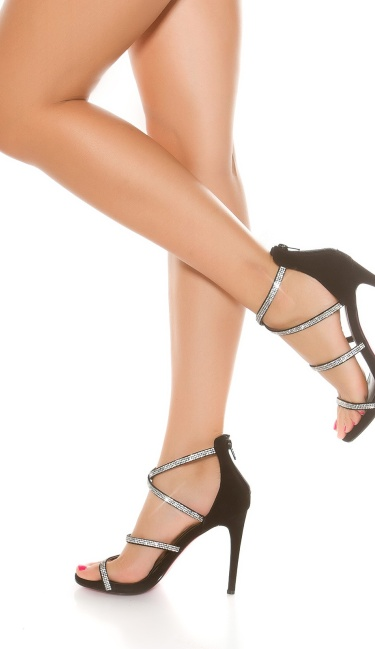 Sexy Sling High Heel Sandal with Rhinestones Black