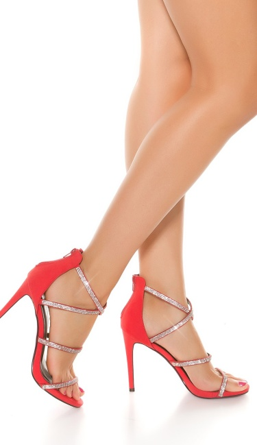 Sexy Sling High Heel Sandal with Rhinestones Red