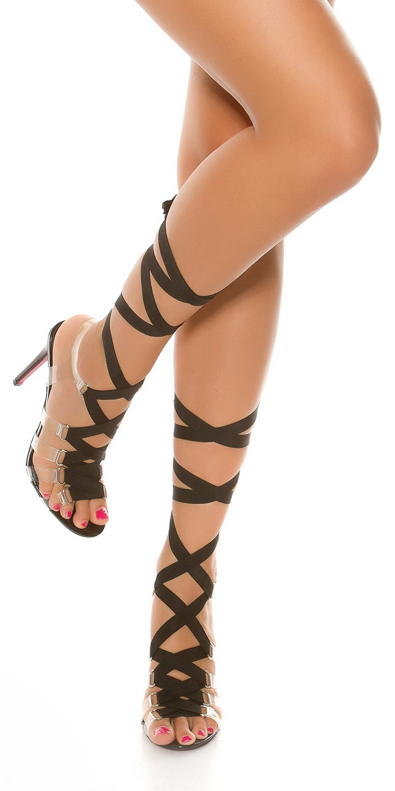 Sexy Bondage High Heel Sandals Black