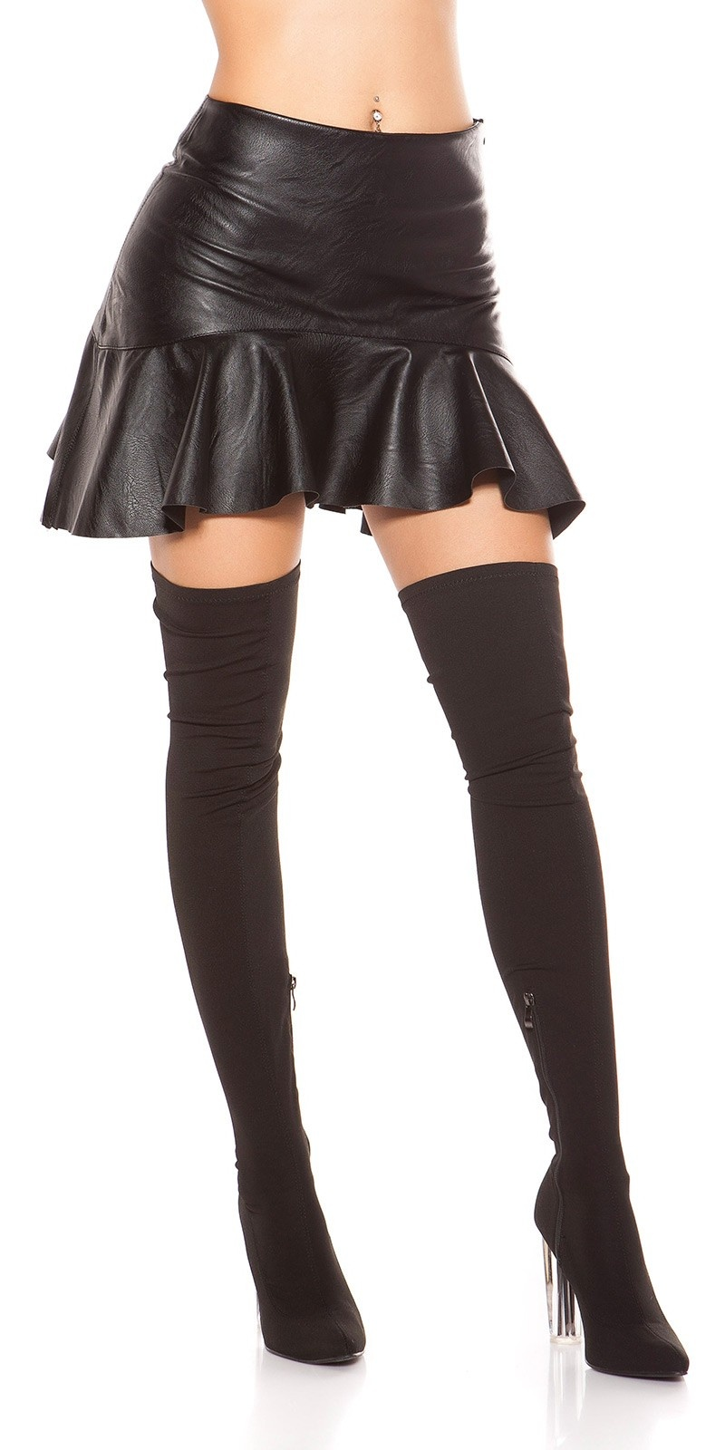 Sexy leatherette mini skirt with flounce Black