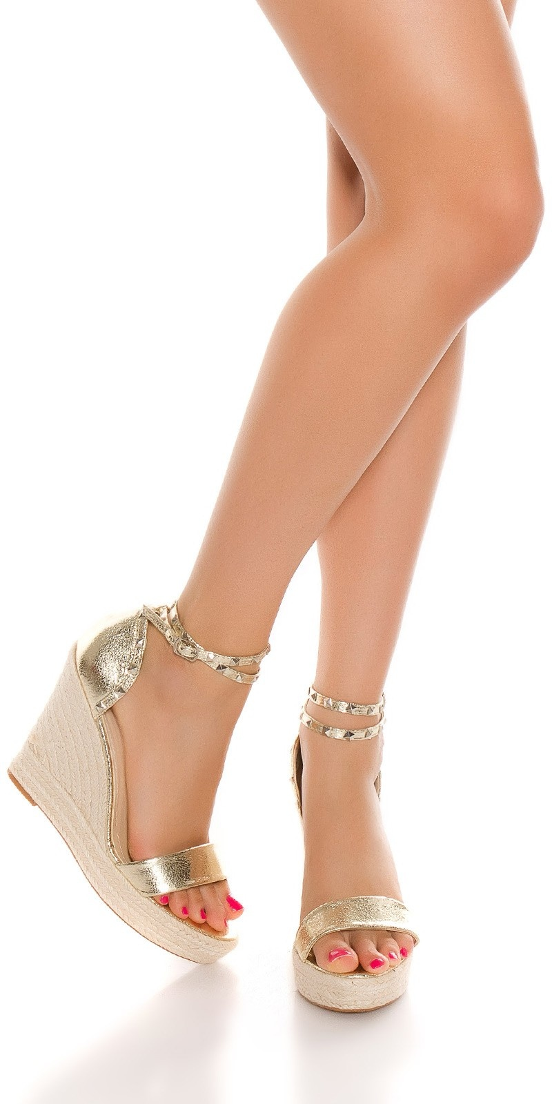 Sexy Plateau-sandals w. ankle straps Gold