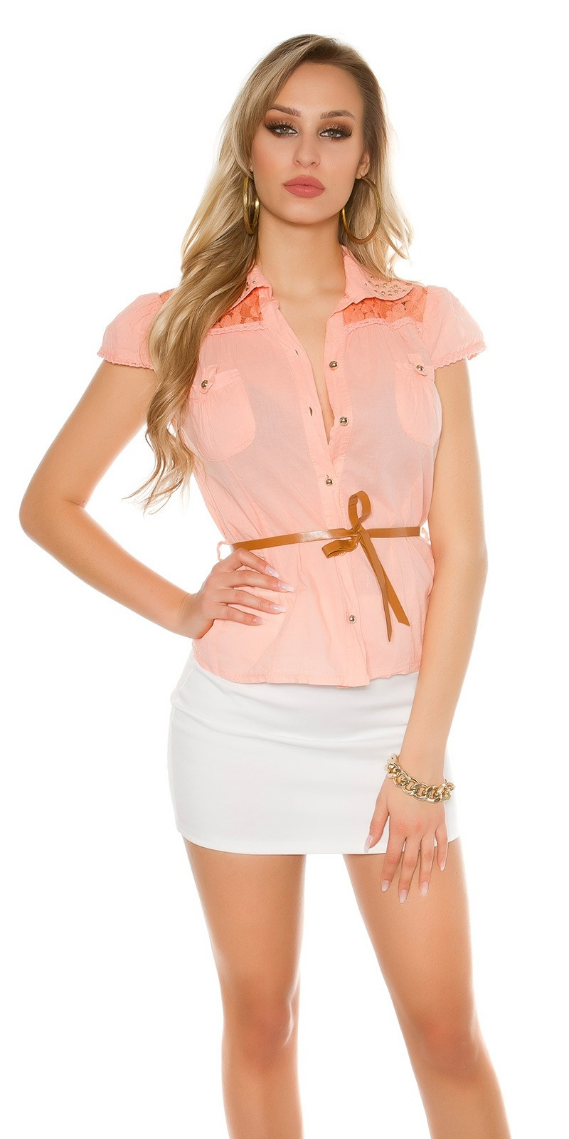 Sexy korte mouw blouse + kant + klinknagels + riem abrikoos-kleurig