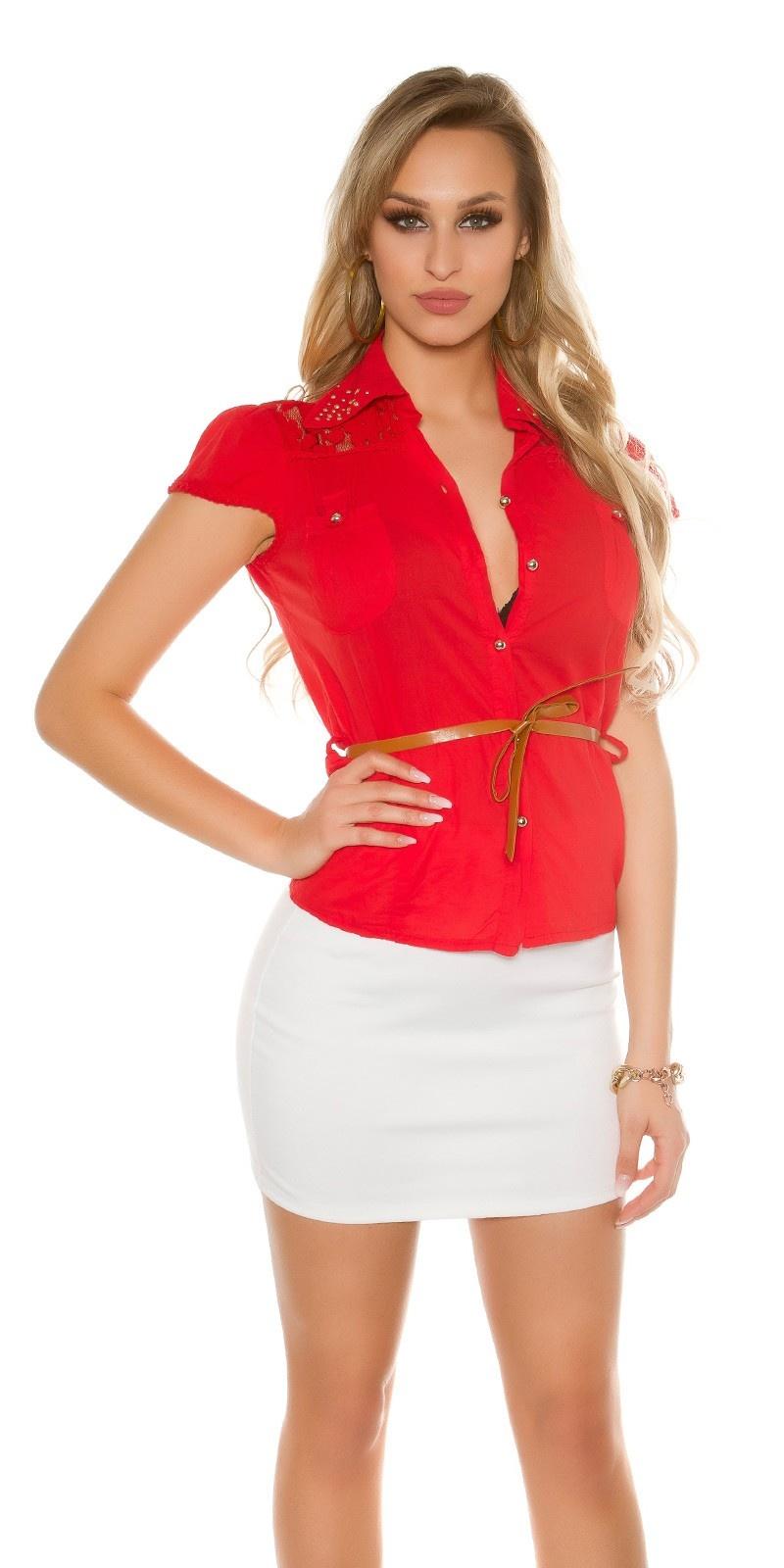 Sexy korte mouw blouse + kant + klinknagels + riem rood