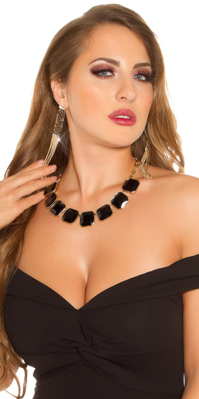 Trendy rhinestone necklace Blackgold