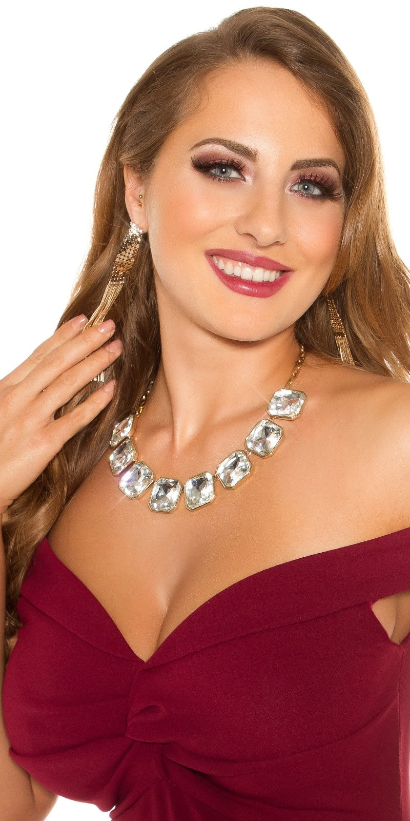 Trendy rhinestone necklace Silvergold