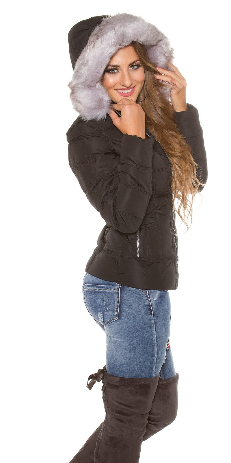 Trendy winterjacket,hoddie fake fur removable Black