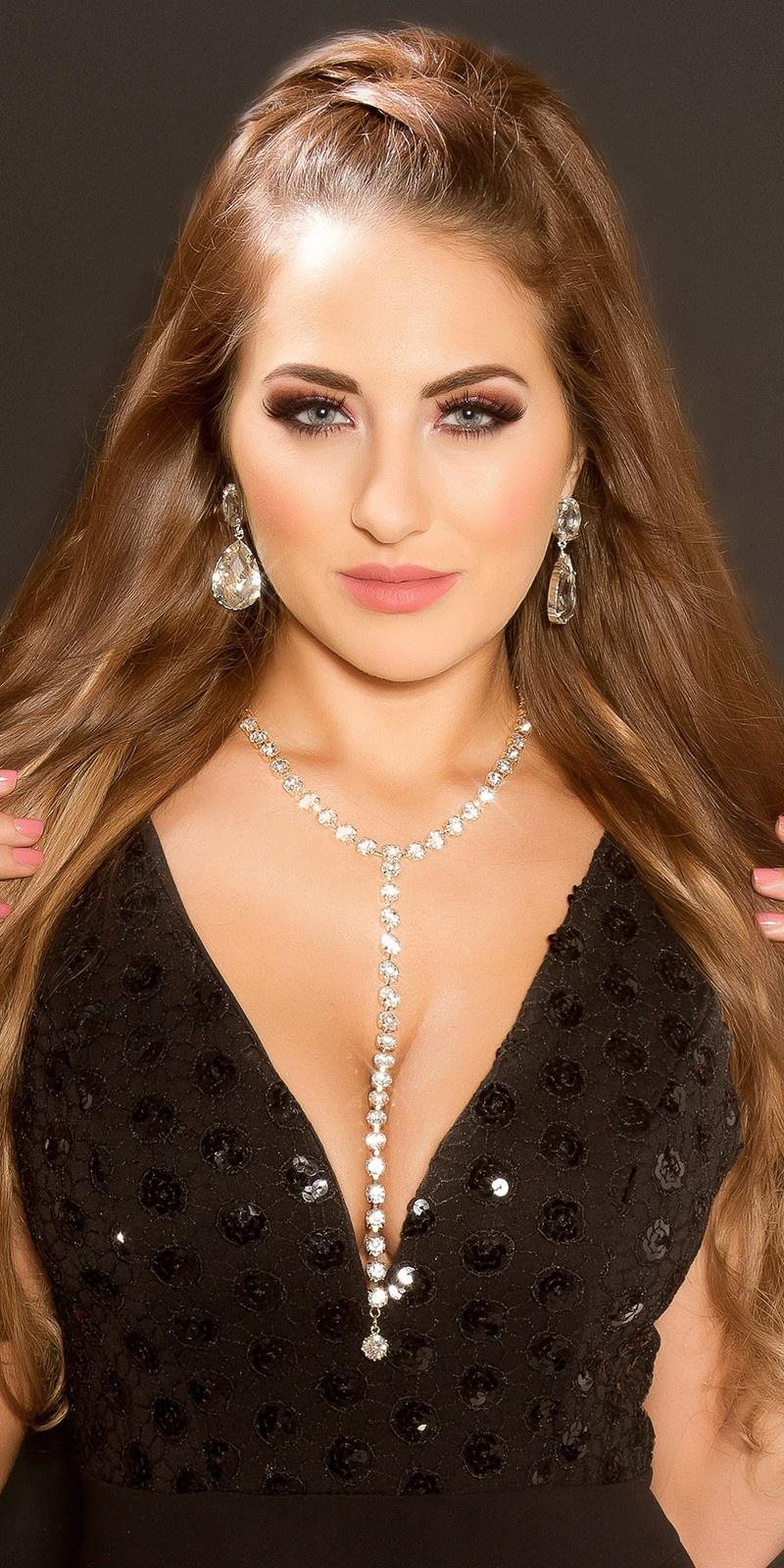 Sexy Y- necklace with XL rhinestones Gold