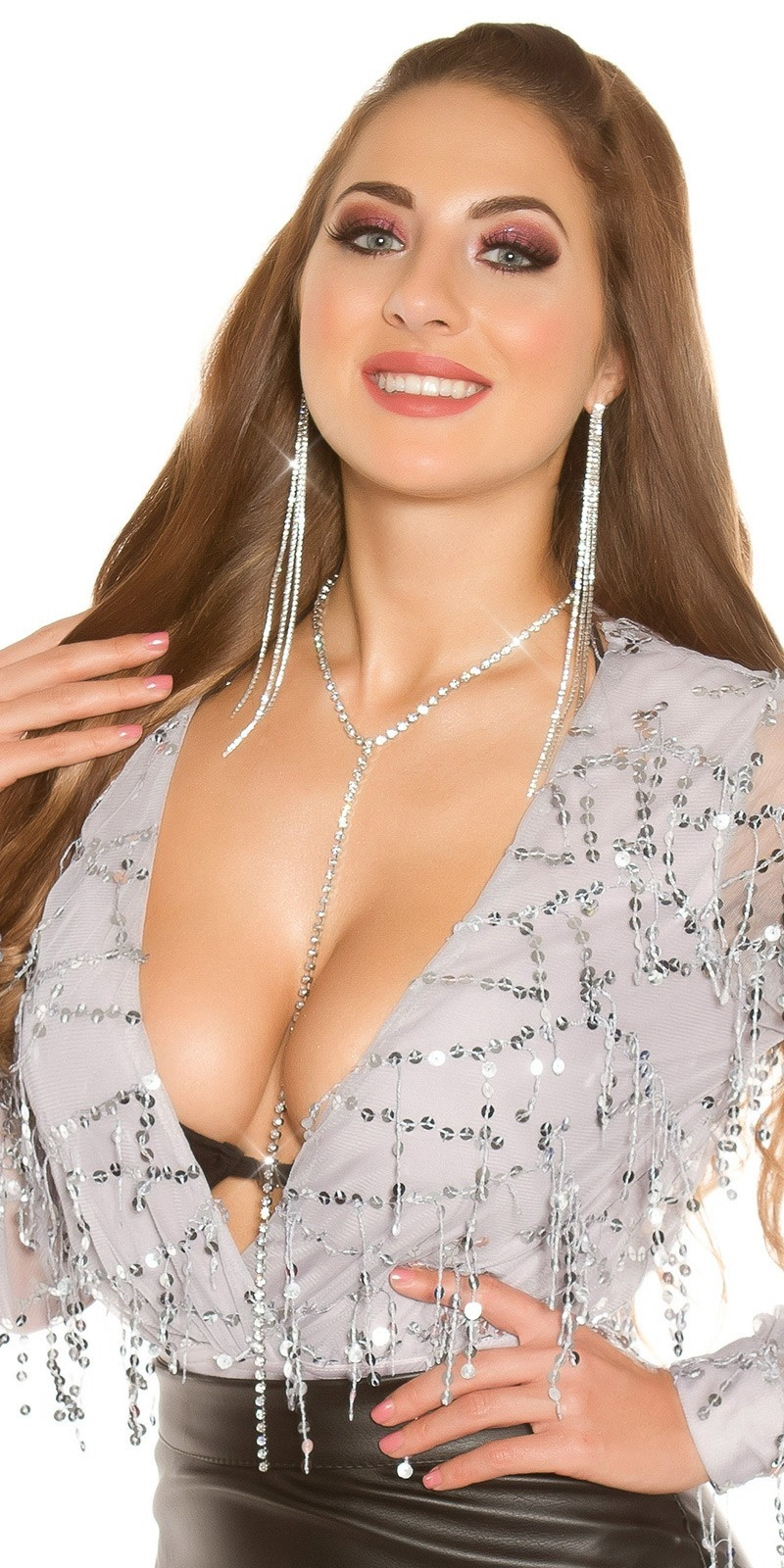 Sexy Y- necklace with rhinestones Silver